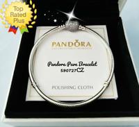 "Pandora PAVE Heart Bracelet 8.3""  21cm Clear CZ Silver Snake Chain #590727CZ New"