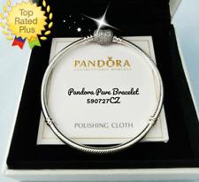 "Pandora PAVE Heart Bracelet 7.5""  19cm Clear CZ Silver Snake Chain #590727CZ"