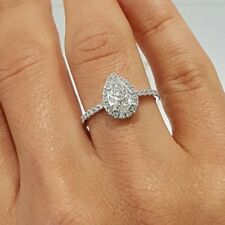 Engagement Ring Fine 14k White Gold Gp 1.50 Ct Pear Shaped Halo Diamond Wedding