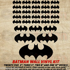 "Batman Wall Vinyl Decal Kit Black Dark Knight Room Decor 31 Decals 3"" 5"" 8"" 12"""