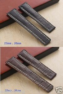 Genuine Leather Black Brown 24mm 22mm Band Strap bracelet (fits) Breitling watch