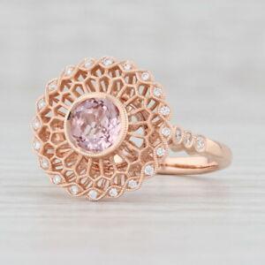 New 0.68ctw Morganite Diamond Halo Filigree Ring 14k Rose Gold S 6.75 Engagement