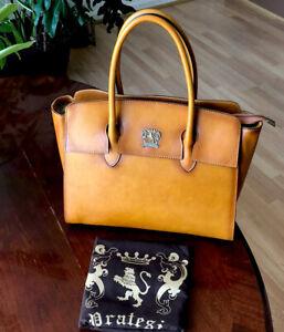 Pratesi Firenze Leather Cognac Satchel Handbag New