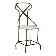Premier Housewares Home Furniture Living Room Cream Metal Artisan Seat Chair