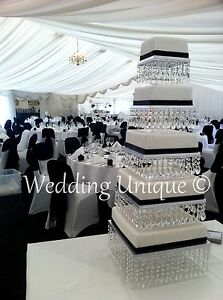 Acrylic crystal wedding cake stand square mutiple tier chandelier cake stand