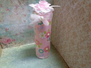 Shabby Victorian Chic SPRAY CAN COVER ~Flower Patterned Fabric~Lace~