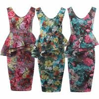 Womens Tropical Lilly Floral Print Double Peplum Bodycon Midi Skirt Dress 8-22
