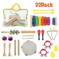 22x bois enfants musique instruments Kit jouets set bambins percussion + sac
