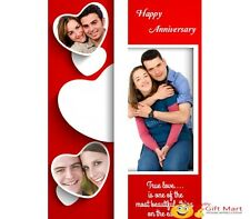 PERSONALIZED Marriage Anniversary Picture Photo GREETING CARD 3 Red Heart Design