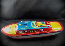 J Chein USA bateau en tôle lithographiée ancien 22,5 cm tintoy boat