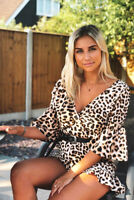 Womens Beige Leopard Print Plunge Wrap Over Front Frill Playsuit RRP £39.99 UK