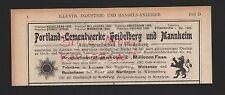 HEIDELBERG MANNHEIM, Werbung 1908, Portland-Zement-Werke
