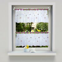 Ready Made Kitchen Lace Curtains - Coffee Short Curtain Rod Pocket Curtains