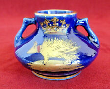 Porcupine & Crown Louis Xii Miniature Porcelain Vase Cobalt Blue with Gold Trim