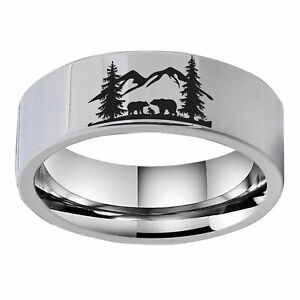 8mm White Tungsten High Polish Outside Engraving Mountain and Animal Men's Ring
