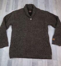 MENS Kyber Outerwear 100% Wool Cowl Sweater Brown Fleece Lined