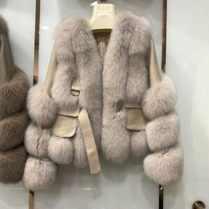 Women Genuine Sheepskin Leather Jackets Fur Winter Thick Warm Fashion Coat 37943