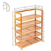 5 Tiers Wood Bamboo Shelf Entryway Storage Shoe Rack Organizer Shelves Furniture