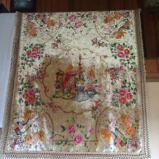 RARE VINTAGE ITALIAN HAND PAINTED COVERLET BEDSPREAD
