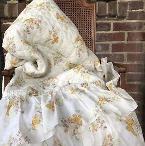 Vintage 60s/70s Retro Twin Quilted Butterfly Bedspread With Double Ruffle MCM