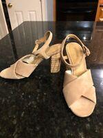 Soludos Capri high heel sandals size 8.5 beige suede, NEW!