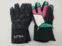 Vintage BURTON Snowboard Racing Snow Gloves Black Pink Medium