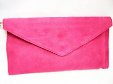 Hot Pink Large Envelope Clutch Evening Genuine Real Suede Leather Bag 16 colours