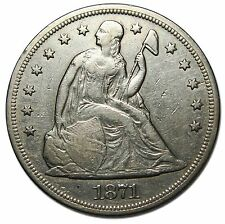 1871 Seated Silver Liberty Dollar $1 Coin Lot# MZ 4465