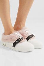 Miu Miu- Prada Buckled Shearling - Leather Skate Sneakers 39.5 Shoes Espadrills
