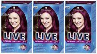 Schwarzkopf LIVE Intense Colour & Lift L76 Ultra Violet Pro Hair Colour Dye x 3