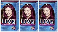 Schwarzkopf LIVE Intense Colour & Lift L76 Ultra Violet Pro Hair Colour Dye x 3
