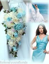 Artificial Pool Bridal Bouquet, Cascading Pool Bridal Flowers, Pool Wedding
