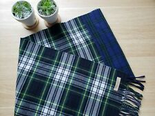 NWT Burberry Muffler Scarf 100% Merino Wool Blue/Green