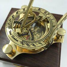 "Nautical Antique Brass Sun Dial Compass, Stunning 3.25"" w/ Teak Wood Display Box"