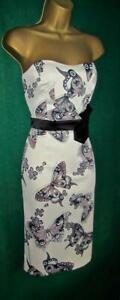 KAREN MILLEN UK 10 12 Ivory Stone Butterfly Stretch Satin Pencil Strapless Dress
