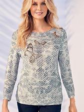Kaleidoscope Plus Size 22 Linen Rich Butterfly Motif Sweater Jumper TOP £49 Fab