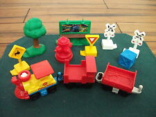 Geo Trax Fisher Price Train & Cars with Railroad sign,yeild sign,trees +