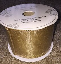 Decorative Ribbon Bella Lux Holiday All Gold Shimmer Wired 2.5 Inches x 10 Yards