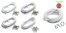 Net Voile Curtain Wire Eyes FREE Hooks Inc Panel All Plain White Multi Sizes 1m