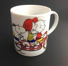 Vintage PEANUTS Snoopy Cup Porcelain Mug Charlie Brown Peppermint Patty On Bike