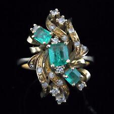 Mid Century Diamond Emerald 14k Yellow Gold Ring Vintage Estate Majestic