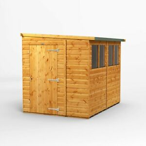 Power Reverse Lean To Pent Wooden Garden Shed | Power Sheds | 8x6, 10x6, 12x6
