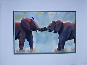 Original watercolor painting art work A4 of 2 elephants fun mates African animal