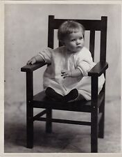 Vintage Antique Photograph Adorable Little Baby Sitting in Chair