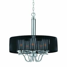 Modern Chandelier Cylindique 5 Light Pendant Chrome Black drum large Sheer Shade