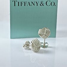 Authentic Tiffany & Co Silver Twisted Knot Woven Mesh Post Stud Earrings 10 mmm