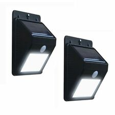 2 x SOLAR PIR MOTION SENSOR SECURITY SHED WALL LIGHT OUTDOOR GARDEN BRIGHT WHITE