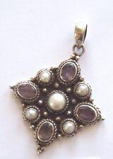 AMETHYST & PEARL Pendant in Ornate Silver Setting
