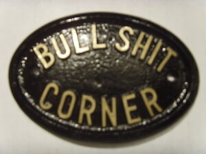 BULLSHIT CORNER PLAQUE IDEAL PUB OFFICE SHOP SIGN