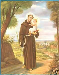"Catholic Print Picture St. Anthony walking w/ Jesus - 8x10"" ready to frame"